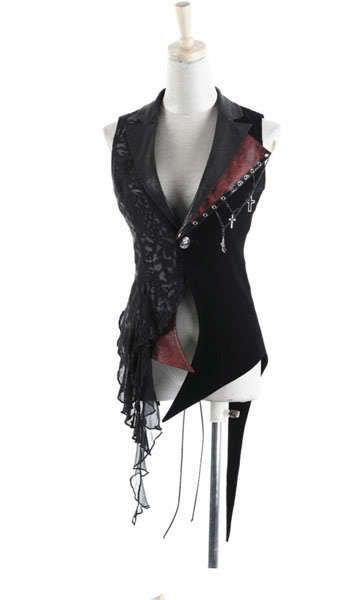 Japan Unisex Visual KEI Punk Rock cross lace coat jacket blazer vest size L #PUNKRAVE