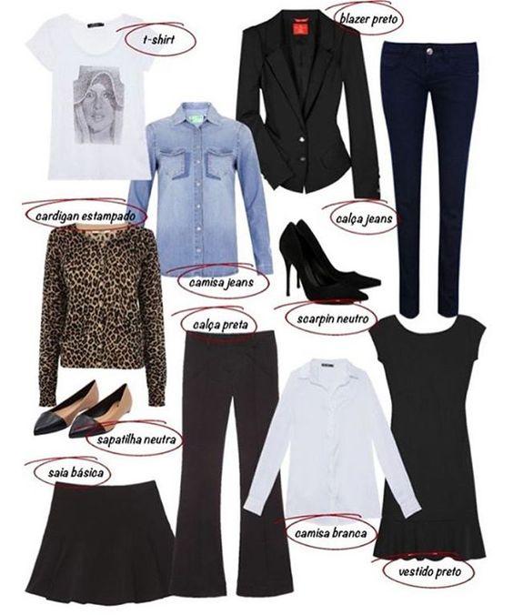 Peças básicas de um guarda-roupa feminino! Com estes básicos é possível criar muitos looks diferentes! Você já tem estas estes itens no seu closet?