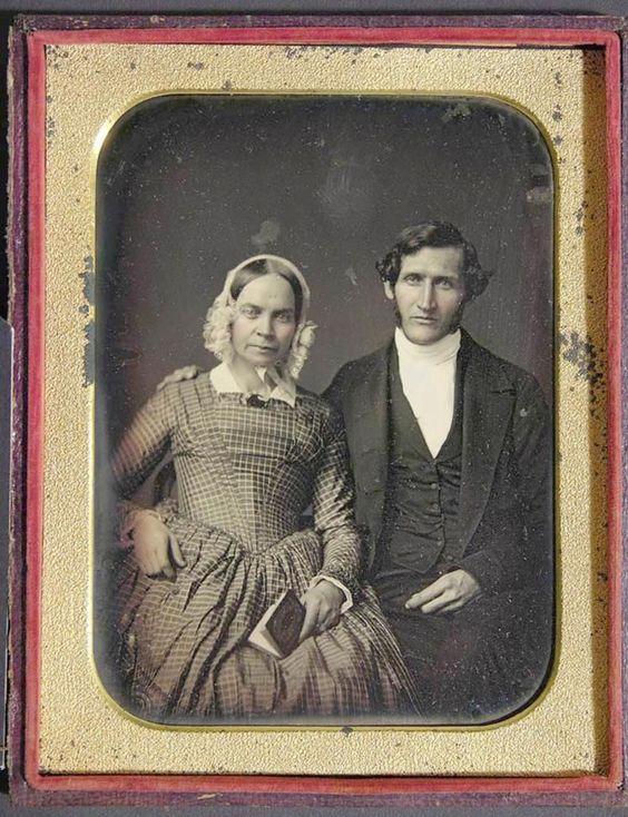 C1850 Half Plate Daguerreotype John C & Sarah Rankin by Marcus Aureilus Root