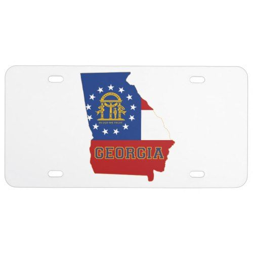 Georgia State Flag And Map License Plate Georgia State Georgia Map Georgia