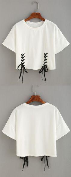 Double Lace-Up Hem Crop T-shirt: