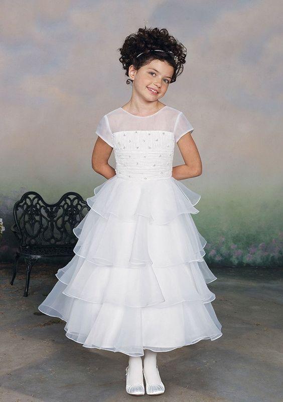 A-line Organza Jewel Natural Waist Tea-Length Short Sleeve Beading Tier Flower Girl Dress picture 1