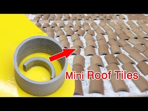 Awesome Idea To Make Mini Roof Tiles To Build Mini Houses Bricklaying Youtube In 2020 Mini House Roof Tiles Concrete Diy