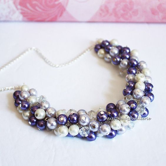 Purple Necklace Pearl Cluster Necklace by DaisyBeadzJoaillerie