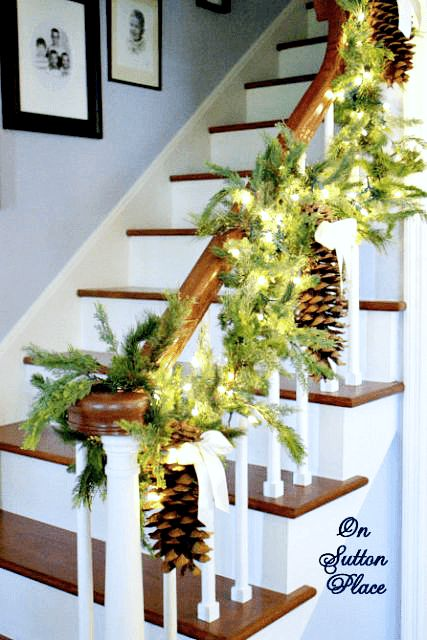 Christmas Stairway Decor ~ DIY and budget-friendly! Lanterns holding Christmas balls