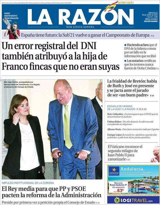 Los Titulares y Portadas de Noticias Destacadas Españolas del 19 de Junio de 2013 del Diario La Razón ¿Que le parecio esta Portada de este Diario Español?