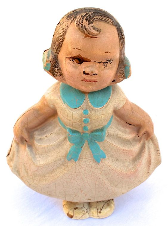 Bobbie Mae Swing & Sway Composition Bobble Head VTG 30s Antique Little Girl Doll