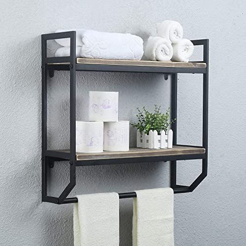 Buy 2 Tier Metal Industrial 23 6 Bathroom Shelves Wall Mounted Rustic Wall Shelf Over Toilet Towel Rack Towel Bar Utility Storage Shelf Rack Floating Shelves T In 2020 Rustic Wall Shelves Shelves Over Toilet Over