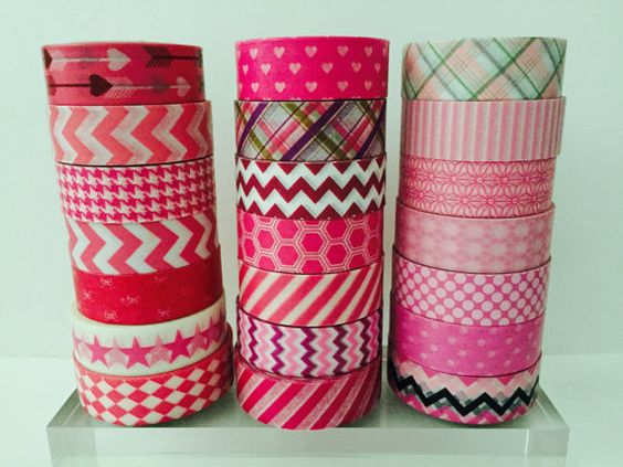 Pink Washi Tape 21 Patterns by GoatGirlMH on Etsy