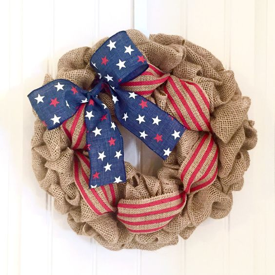 Fourth of July Wreath, Summer Wreath, Red White and Blue, Stars and Stripes, Patriotic Wreath, Burlap Wreath, 4th of July, Front Door Wreath by JennysWreathBoutique on Etsy https://www.etsy.com/listing/385005256/fourth-of-july-wreath-summer-wreath-red