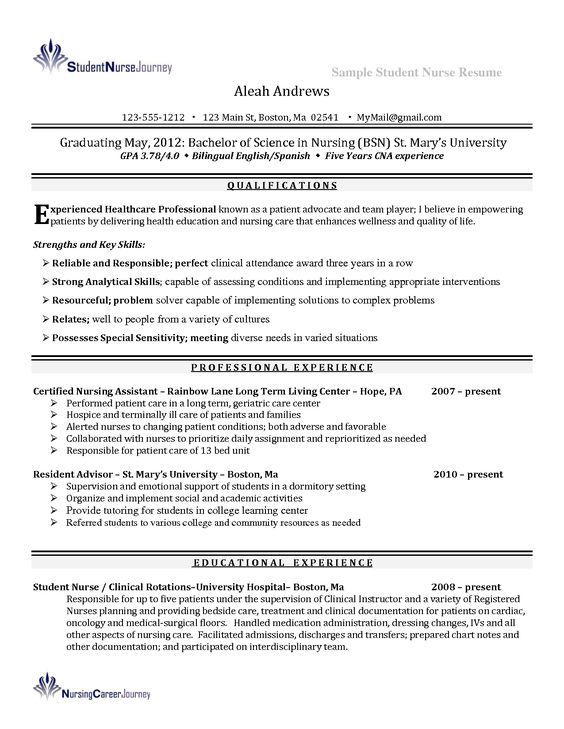 nursing  student and resume examples on pinterest