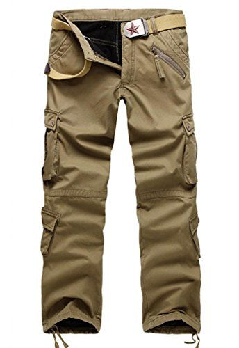GUSER Mens Fashion Thick Lined Cold Weather Warm Straight Cargo ...