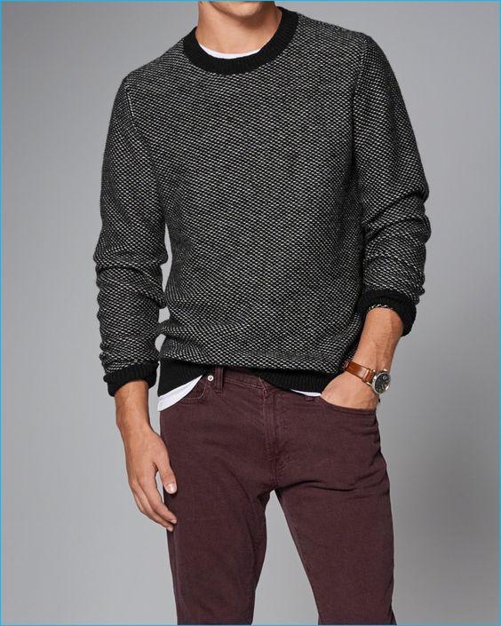 Abercrombie & Fitch Wool Blend Birdseye Knit Sweater