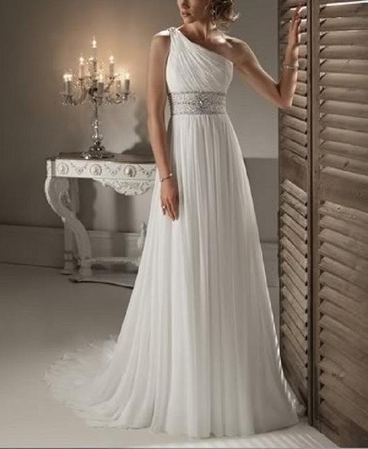 One Shoulder Chiffon Beach Wedding Dress At Bling Brides Bouquet