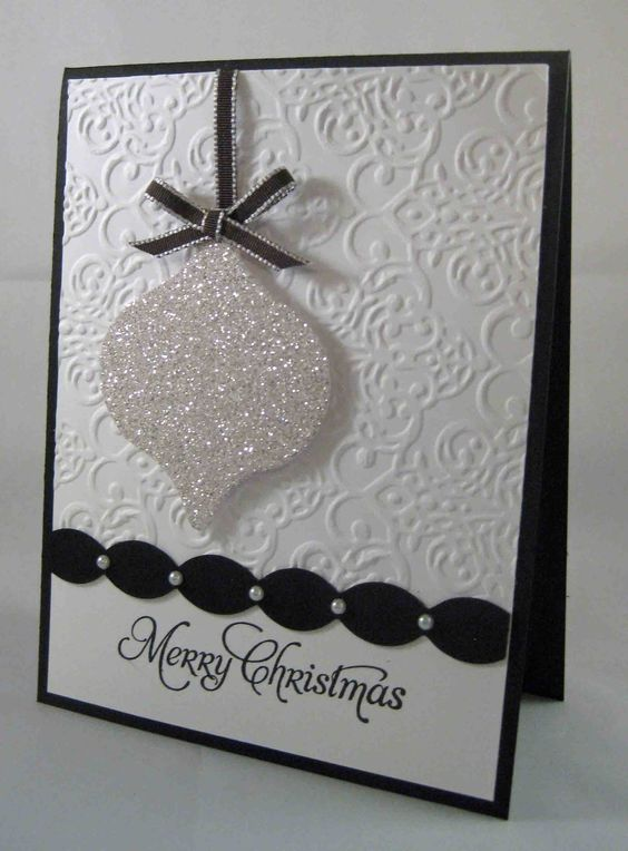Glitter ornaments merry christmas card and glitter on for Elegant homemade christmas cards