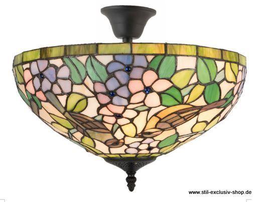 EXTRA Modell ! 41cm ø. TIFFANY Decken Lampe (mit Abstand), Unsere  Umfangreiche Serie BIRDS. 41cm ø. Ca. 30 Cm Hoch. 2 X E14, Je 40W In  Ausgesuchten ...