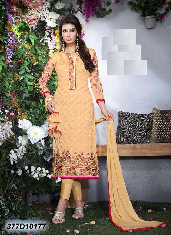 #Semi #Stitched #Beige #Georgette #Straight #Suit #nikvik  #usa #designer #australia #canada #freeshipping #beigekamiz #pakistanisuit
