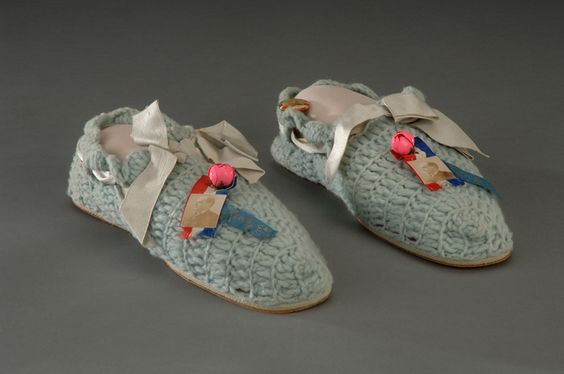 "Ida McKinley crocheted slippers for charity, these were made for a ""Puritan Fair"""