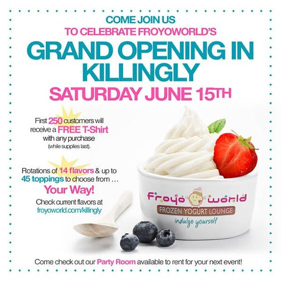 """@mjaamesx's photo: """"come visit me this Saturday! first 250 get a free t shirt!  #froyoworld #yogurt #frozen #froyo #killingly #connecticut #gay #faggot #love"""""""