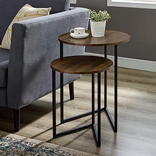 2 Piece V Leg Nesting Side Tables Dark Walnut Black Table Decor Living Room Nesting Side Tables Nesting Side Table