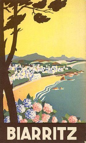 Vieille affiche touristique sur biarritz tourisme - Affiche art deco ...