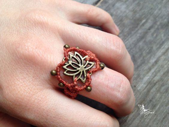 Micro Macrame Ring Lotus in peach boho jewelry hippie endless knot gypsy bohemian boho ring
