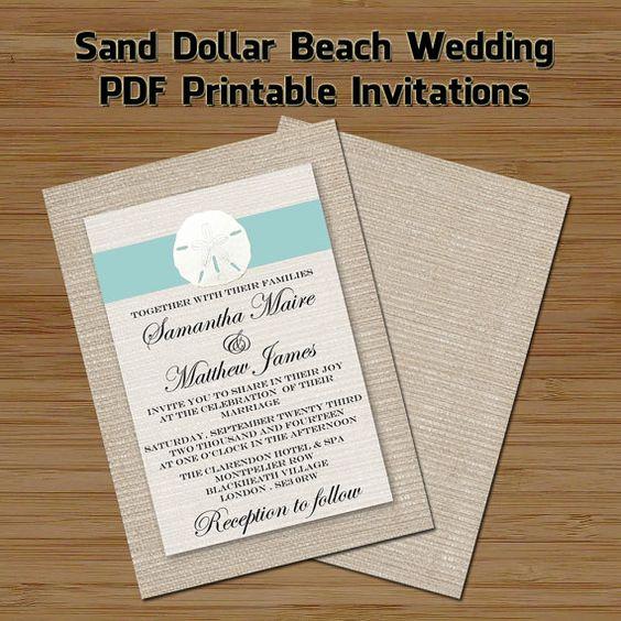 5 x 7 Turquoise Sand Dollar On Burlap Beach Printable DIY – Etsy Beach Wedding Invitations
