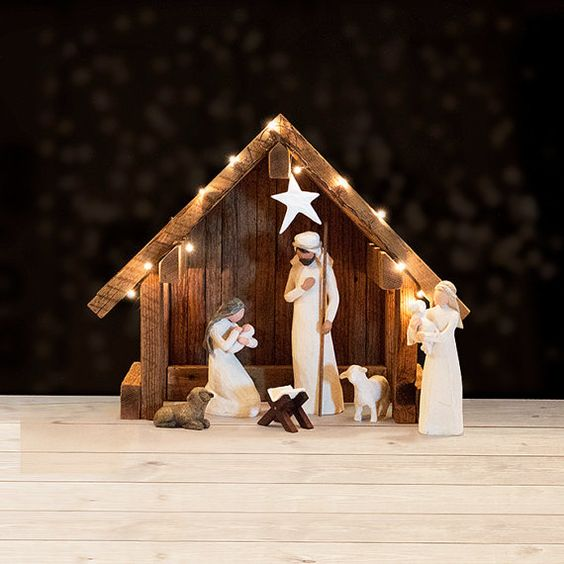 Nativity Creche Stable Reclaimed Barnwood  For by SilverHollyLLC
