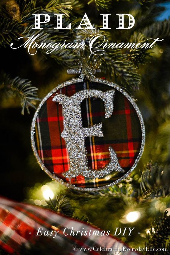 Plaid Monogram Ornament DIY, Make your own monogram ornaments, easy Christmas ornament DIY