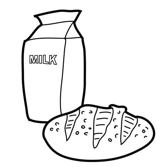Milk And Bread Coloring Picture Food Coloring Pages Coloring Pages For Kids Coloring Pages