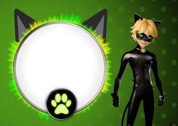 Cat Noir: Invitaciones para Imprimir Gratis.