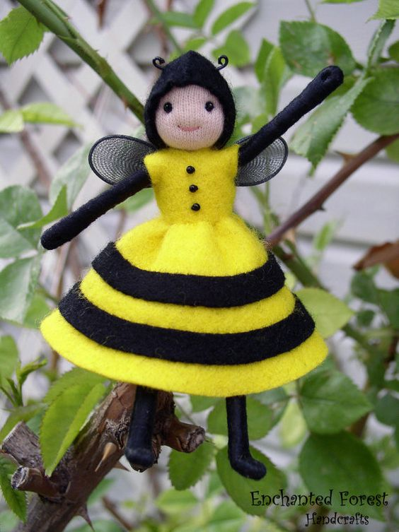 Waldorf Bendy Doll Small Bee Doll Doll House by EnchantedForest