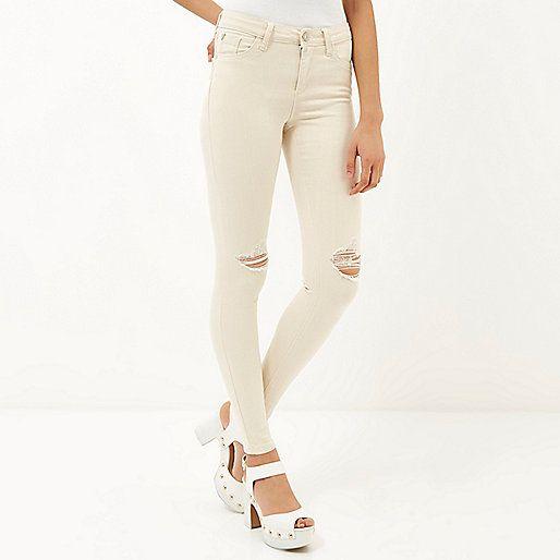 Ecru ripped Amelie superskinny jeans - skinny jeans - jeans ...