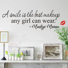 Aliexpress - black A Smile Is The Best Makeup Any Girl Art Mural Decal Decor Quote Wall Sticker free shipping(China (Mainland))