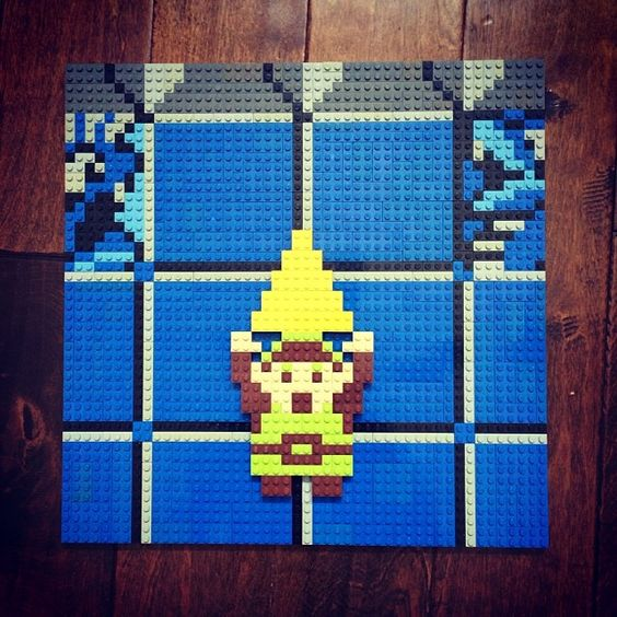 Legend of Zelda NES sprite art, but depicted in LEGO!