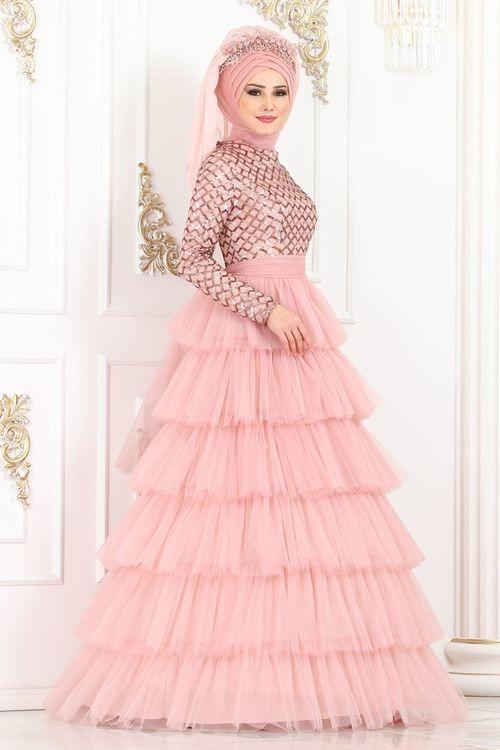 Modaselvim Abiye Kat Katli Pul Payet Abiye Ygs6205 Pudra Elbise Elbiseler Kiyafet