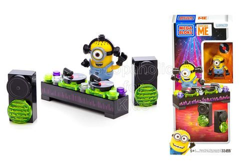 Mega Bloks Despicable Me Minions Party Pack - Dance Party You can build your DJ Minion and customize him with accessory headphones. Put the needle on the record and play something happy that'll get all the Minions tripping all over themselves to get to the dance floor. - To order: http://www.shopaholic.com.ph/new.html#!/Mega-Bloks-Despicable-Me-Minions-Party-Pack-Dance-Party/p/49446712/category=6966429