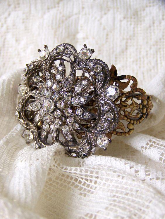 Romantic Bracelet Antiqued Rhinestone Bracelet Vintage Rhinestone Bling Cuff Bracelet Altered Jewelry Vintage Bracelet Jewelry.