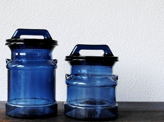 Vintage glass milk can canister set blue kitchen farmhouse decor storage blue canisters - Blue glass kitchen canisters ...