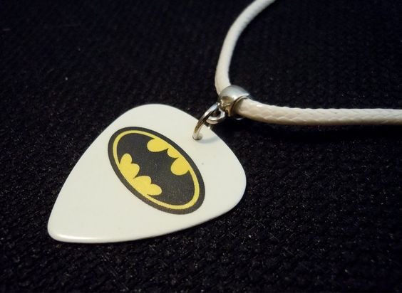 Batman Guitar Pick on Rolled White Leather Cord Necklace by ItsYourPick on Etsy