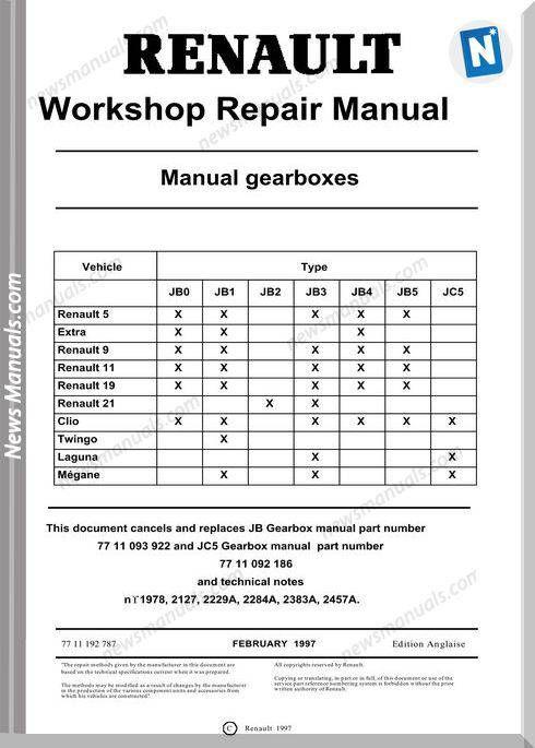 Renault Workshop Repair Manual Gearbox   Repair manuals, Repair, RenaultPinterest