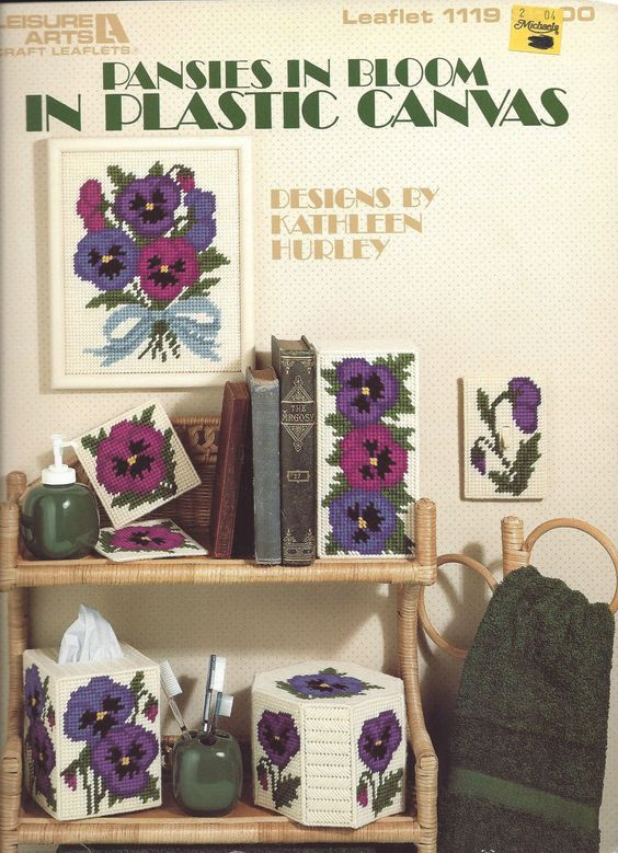 Plastic Canvas Pattern Pansies In Bloom by KnitKnacksCreations