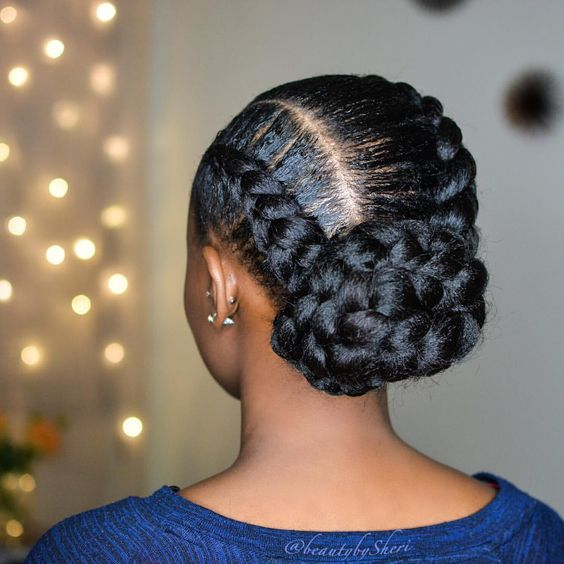 Jumbo Feed In Braids With A Bun Simple Beautiful And Elegant Protective Style Beautybysheri Protectivestyl Goddess Braid Styles Hair Styles Goddess Braids