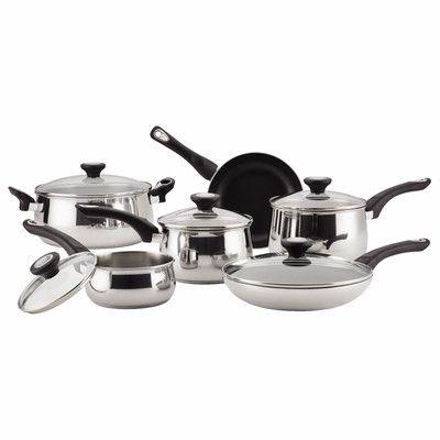 Farberware 14 Piece Non-Stick Stainless Steel Cookware Set