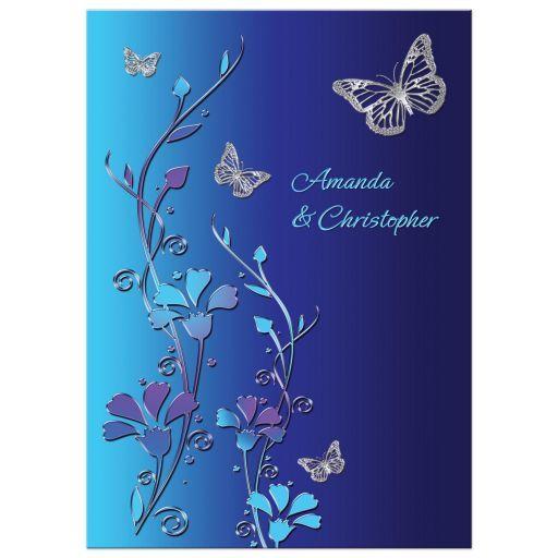 Wedding Invitation Royal Blue Turquoise Mauve Flowers Silver
