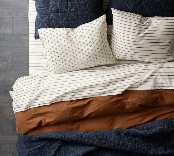 The Emily Meritt Indigo Stitch Cotton Quilt Shams Cool Bedding Sets Brooklyn Bedding Vs Casper Luxurybeddin In 2020 Bedding Master Bedroom Home Bedroom Home