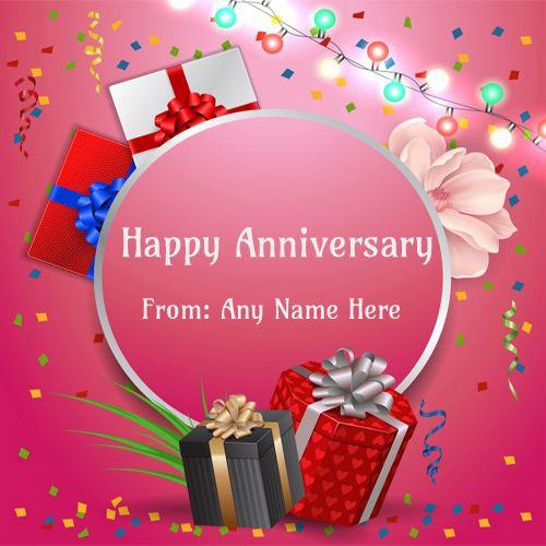 Happy Anniversary Cake With Photo Edit Marriage Anniversary Cake With Name Fre Marriage Anniversary Message Wedding Anniversary Cards 16th Wedding Anniversary