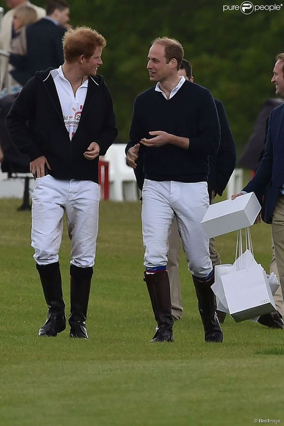 Le prince Harry et le prince William lors de l'Audi Polo Challenge à Ascot, le 31 mai 2015.