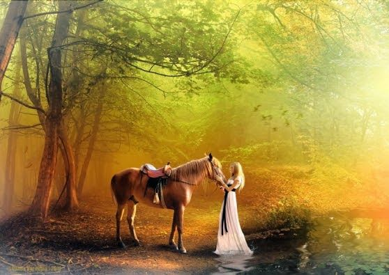 "original artwork by: Oxona Voronina  ""When making decisions in your life, trust your heart and intuition. over the opinions of those passing by.""  - Jasmeine Moonsong  Wiccan Moonsong: Daily Message - December 6, 2013 #woman #blonde #horse #forest"