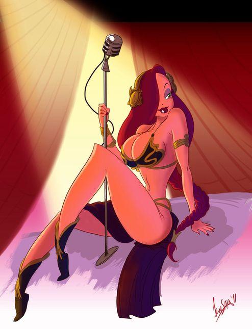 Fan Art: Jessica Rabbit as Princess Leia singing in the club. :)